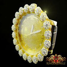 Real Diamond Mens Khronos Joe Rodeo Yellow Gold Finish Cluster Bezel Iced Watch