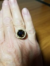 10k Yellow Gold Large Smoky Topaz Ring, Size 6.5, Unique Design
