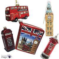 *Gisela Graham Christmas Painted Glass Tree Bauble Ornament Decoration London*