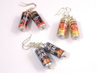 Food Soda Can Style Silver Plated Earrings Retro Beans Soup Hoops Monster Energy