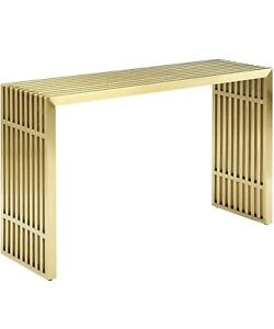 Modway Gridiron Accent Console Table in Gold