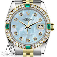 Ladies Rolex 26mm Datejust 2 Tone Baby Blue Mother Of Pearl Dial Emerald Diamond