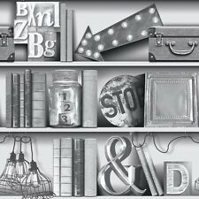 Arthouse Upcycle Monochrome Shelfs Books Bookcase Shabby Chic Wallpaper (694200)