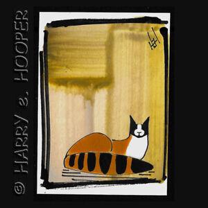 "hand painted  ACEO original art card * by HeH ""g3380"" black/white/orange  CAT"