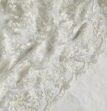 """White Embroided double Scalloped Bridal lace Fabric 52"""" wide Tulle Net Dress"""