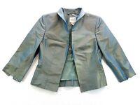Pauw Amsterdam Teal Silk Taffeta Short Blazer Size 0 Womens