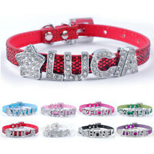 Bling Rhinestone Personalized Dog Collar PU Leather Small Adjustable for Pet Cat