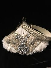NWT Mary Frances PREMIER CLASS Rhinestone & Feathers beaded evening bag purse