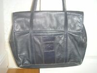 Women's Large Navy Blue Leather Handbag Florence Designer shoulder Bag Holdall