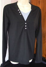 """YESS Unisex Personalized Lifestyle S-36"""" Chest Black LS Tee Gray Insert Buttons"""