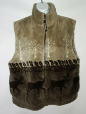 Black Mountain Outdoor Women's XL Moose Print Fleece Vest Brown High pile b31