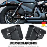 Universal Motorrad PU Seitenkoffer Packtasche Satteltasche Gepäcktasche Schwarz
