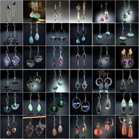 Vintage 925 Silver Ear Hook Dangle Drop Earrings Turquoise Women Wedding Jewelry