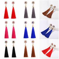 Fashion Rhinestone Long Tassel Dangle Earring for Women Thread Fringe Drop Alloy