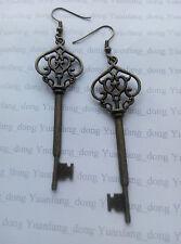 Vintage Bronze Alice in Wonderland Heart Key Costume Jewellery Dangle Earrings