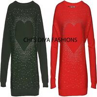 BON PRIX Beautiful  Rhinestone Heart Jumper Sizes UK 8-26