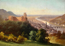 Large Oil painting old town landscape & river huge building in sunrise canvas