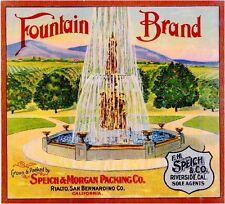 Rialto San Bernardino County Fountain #2 Orange Citrus Fruit Crate Label Print