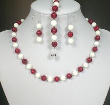 Schmuckset aus Korallen und Tridacna Perlen rot weiß