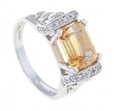 14Kt White Gold Emerald Cut Citrine November Ladies Birthstone Ring