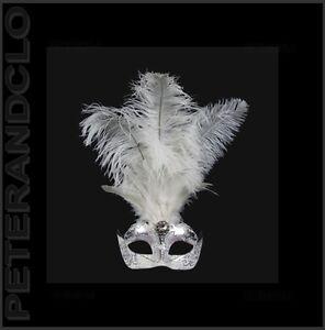 Maske Venedig- Wolf Im Federn Strauß Silbern Weiß-maske Venetian - 529