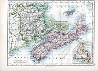 1897 Victoriano Mapa ~ Británico América Del Norte Nuevo Brunswick Nova Scotia
