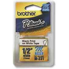 """Brother M231 M 1/2"""" Black on White Ptouch label tape PT 70 70BM 85 90 PT65 MK231"""