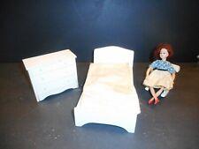 Vintage Dollhouse Doll Furniture 3 piece White Wood Bedroom set Hall's