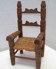 "Vtg Wood Crown Ladder Back  Chair Doll BEAR Furniture Rattan JUTE Seat 7 3/4"" T"