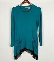 LOGO by Lori Goldstein Tunic Large Shirt Top Pockets Striped Layer Chiffon Trim
