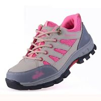 Womens Anti Puncture Work Satefy Steel Toe Breathable Hiking Shoes Boots Outdoor
