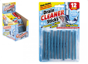 DRAIN CLEANING STICKS 12 PK SINK CLEANER SHOWER BATH CLEAN PIPES ODOUR REMOVER
