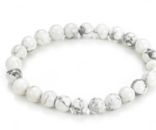 UK. Beautiful White Howlite 8mm Crystal Gemstone Bead Bracelet. Calming. 3rd Eye