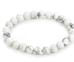 UK. Beautiful White Howlite 8mm Crystal Gemstone Bead Bracelet. Calming. 3rd Eye