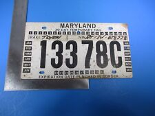 Vintage Temporary Maryland Toyota License Plate Tag Expired August 11th M6087