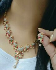 Indian Bollywood Butterfly Design Necklace Set Earring Gold Plated Drop Jewelry