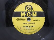 Hank Williams - Dear John/Cold, Cold Heart 78 rpm Record 10904 MGM Records