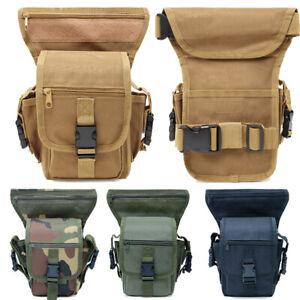 XUELI Canvas Tactical Military Waist Pack Pouch Outdoor Drop Leg Bag Waist Bag Fanny Packs Tactical Leg Bag Thigh Pouch Bag Crossbody Bag