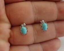 925 STERLING SILVER STUD EARRINGS W/ TURQUOISE GEMS /8MM BY 7MM/ NEW DESIGN