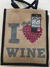 Stylish jute 'I Love Wine' Shopper Bag- high quality.