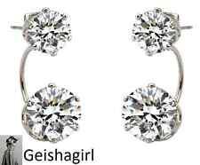 Double Sided Silver Plated CZ Crystal Gem Earrings Ear Cuff Jewellery WomenUK