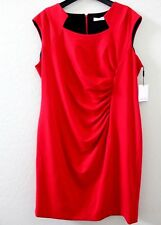 Calvin Klein Red Capsleeve Ruched Side Sheath Dress Career Plus Size 18 W