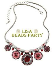 New Fashion Charm Jewelry Pendants Alloy Circles Chain Bib Necklace Red