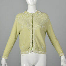 M 1960s Pale Green Cardigan Beading Sequin Detail Long Sleeve Spring Sweater 60s
