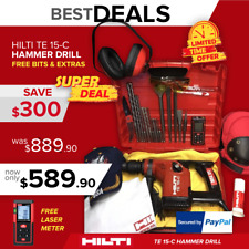 Hilti Te 15-C Hammer Drill, Preowned, Free Laser Meter, Extras, Bits, Quick Ship
