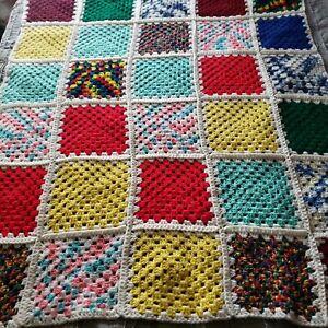 "Vintage Handmade Granny Square Patchwork Afghan Throw Blanket 56"" × 42"""