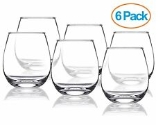 Chef's Star 15 Ounce Stemless Wine Glasses Set, Shatter-Resistant Glass ,6 pack