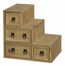 Corona Accessories Storage Unit Cube Drawers Staircase Light Waxed Solid Pine