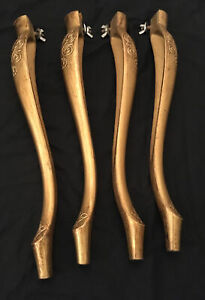 4 VINTAGE FLORENTINE TABLE LEGS HARD PLASTIC GOLD COLOURED WITH FITTINGS ITALIAN