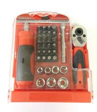 34pc Hand Tool Set with Stubby Ratchet Handle Screw Nut Driver Socket and Bits
